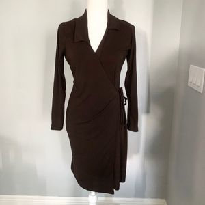Old Navy Brown Wrap Dress, size M